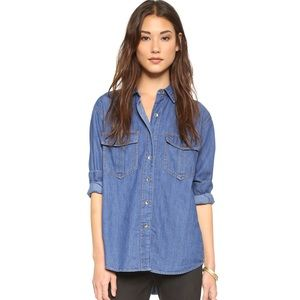 Free People XO Denim Button Down Seventies Blue